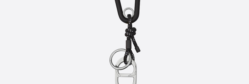 Dior climbing crd snap Key Hook with brass logo charms