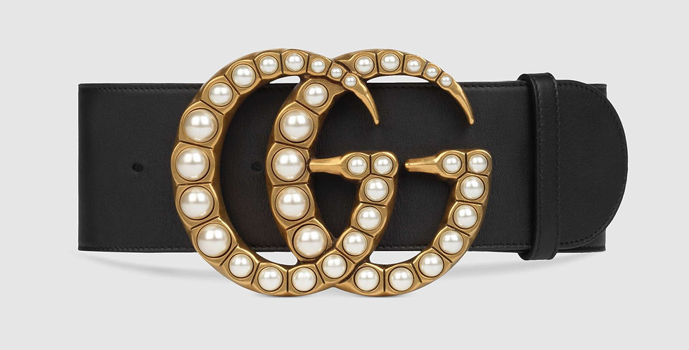 Gucci 7 cm leather belt with pearl Double G