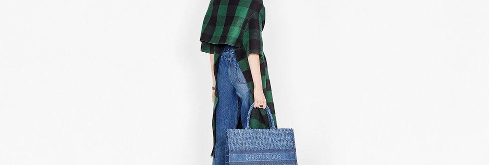 Dior Book Tote bag in Denim blue embroidered oblique canvas