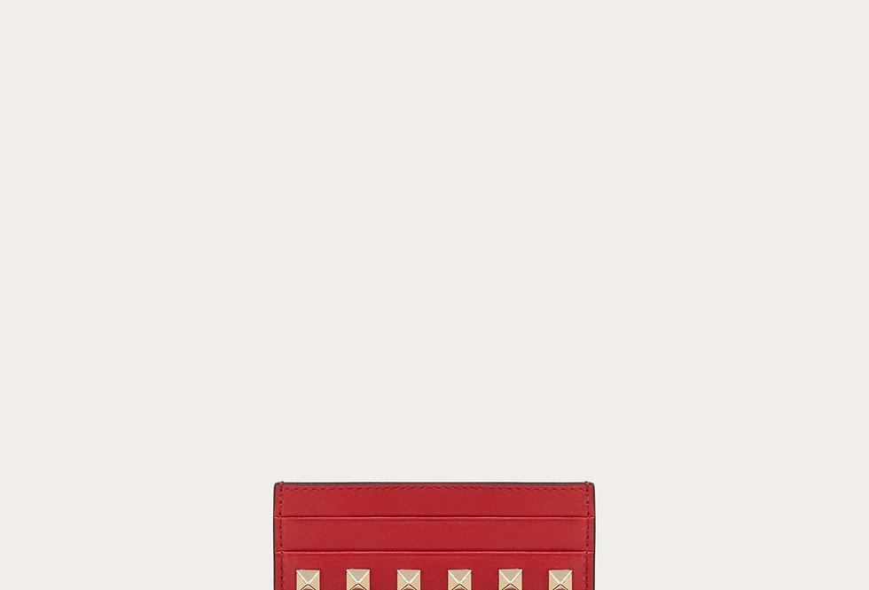 Valentino Rockstud cardholder in calfskin leather