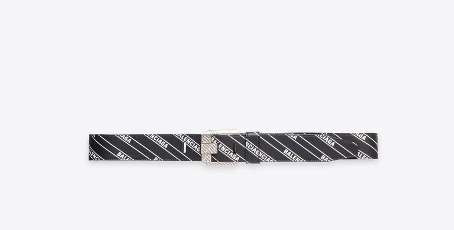 Balemciaga Stripe Logo engraved buckle belt