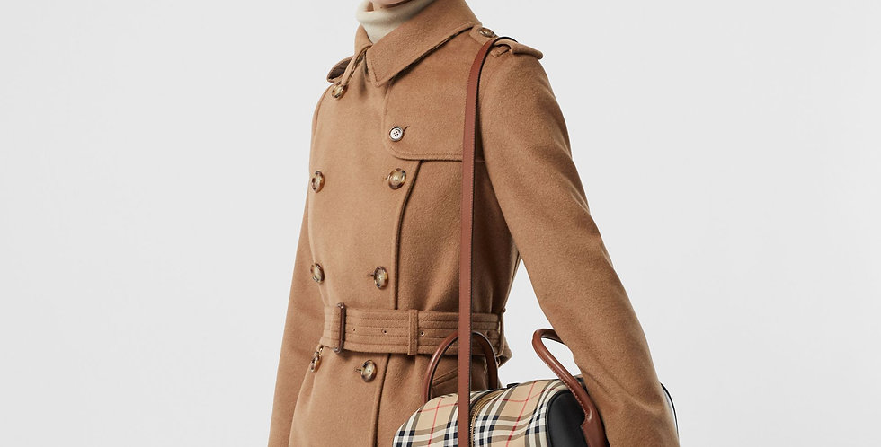Burberry Small Leather and Vintage Check Cube Bag