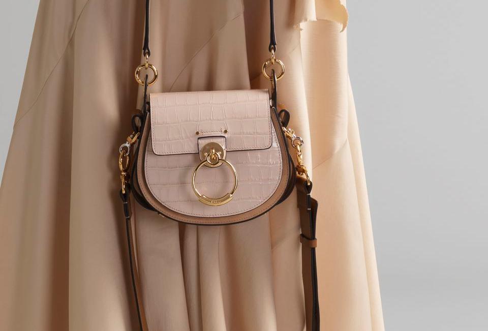 Chloé Large Tess round handbag in embossed croco effect on calfskin