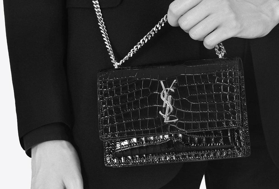 Saint Laurent Sunset Mini Crocodile Embossed patent/shiny leather
