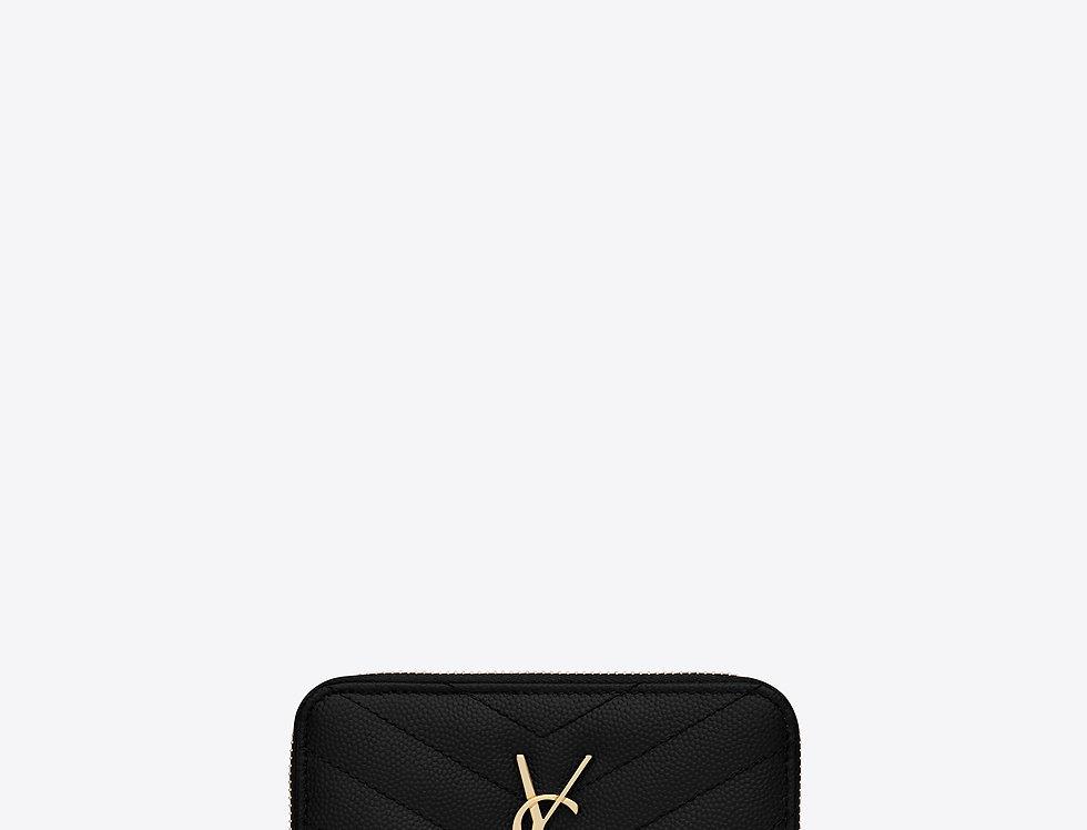 Saint Laurent Monogram compact zip-around wallet in grain de poudre leather