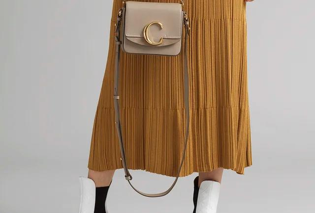 Chloé C mini bag in shiny & suede calfskin
