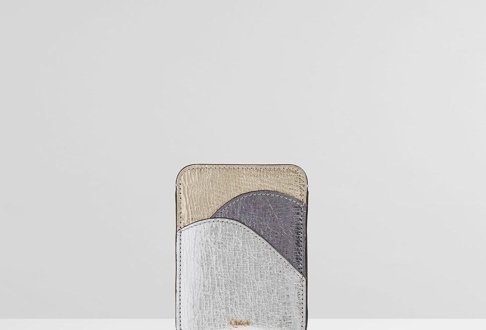 Chloé Walden card holder in crinkled metallic lambskin & shiny calfskin
