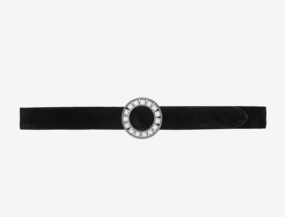 Saint Laurent Ronde belt in suede with round bukle in crystal