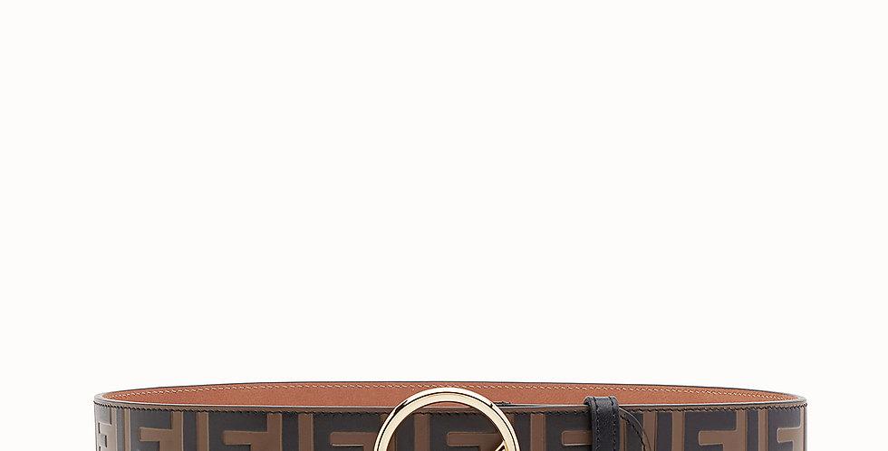 Fendi Monogram Brown/Black leather belt