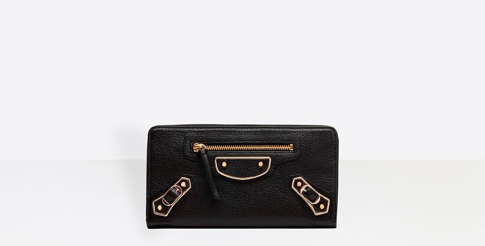 Balenciaga Classic metallic edge Continental zip-around