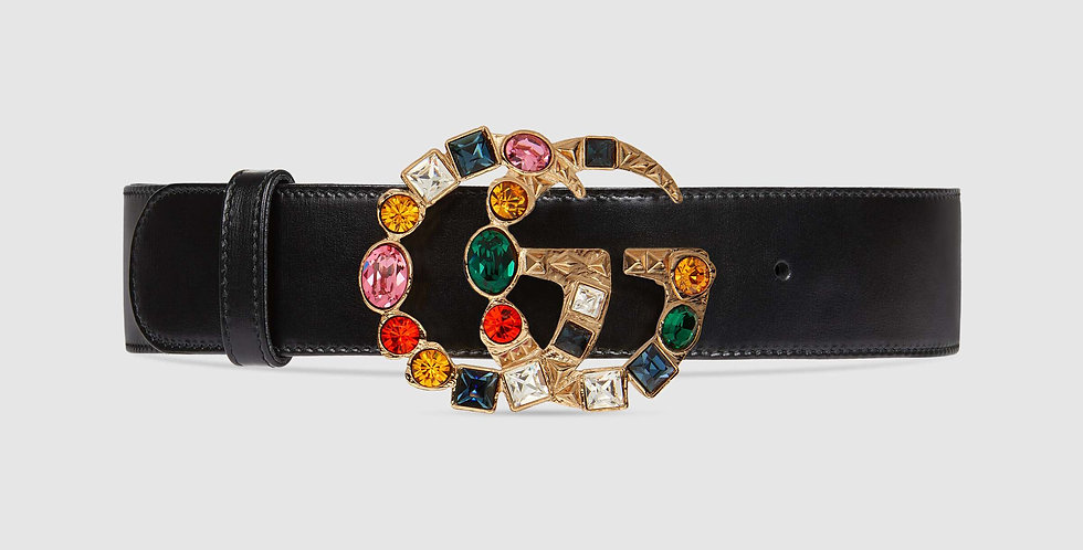 Gucci leather belt with coloured crystal Double G buckle