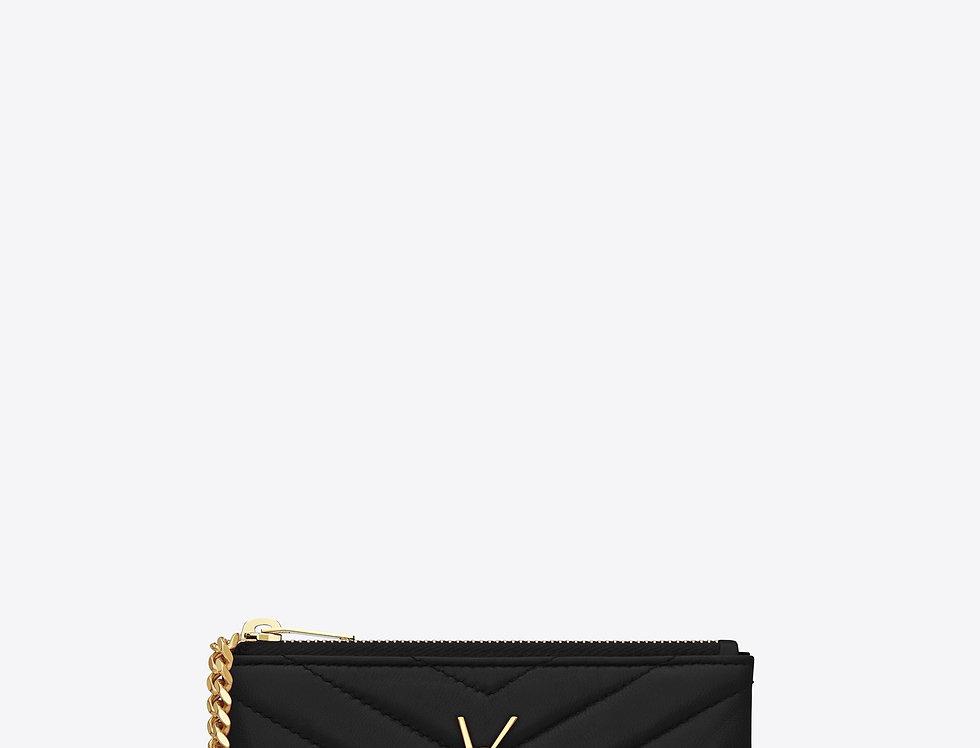 Saint Laurent Monogram Key Pouch in matelassée leather