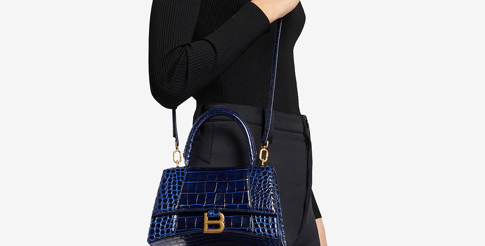 Balenciaga Hourglass Small Top Handle Bag Shiny crocodile embossed calfskin