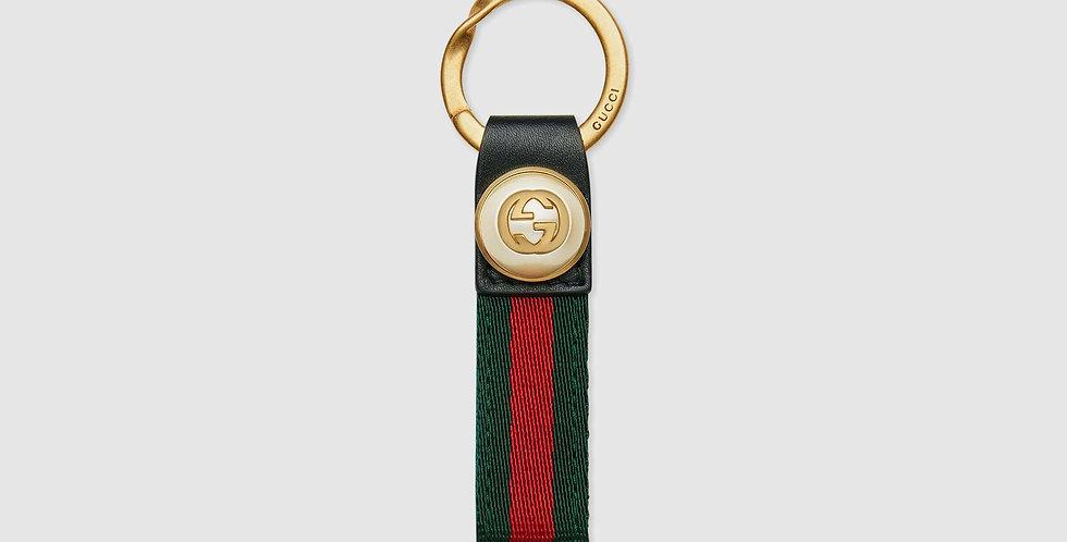 Gucci nylon Web key ring