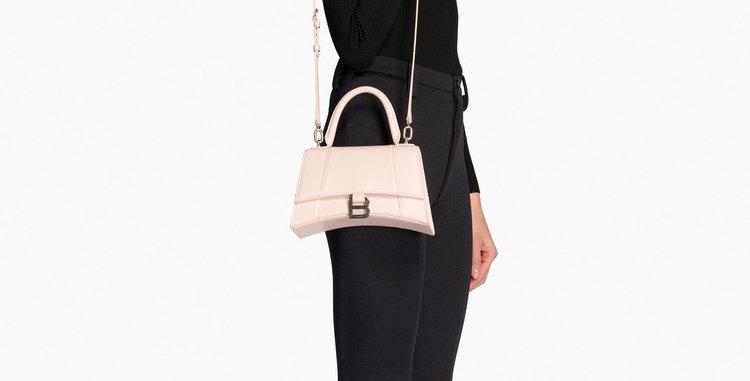 Balenciaga Hourglass Small Top Handle Bag Shiny Calfskin