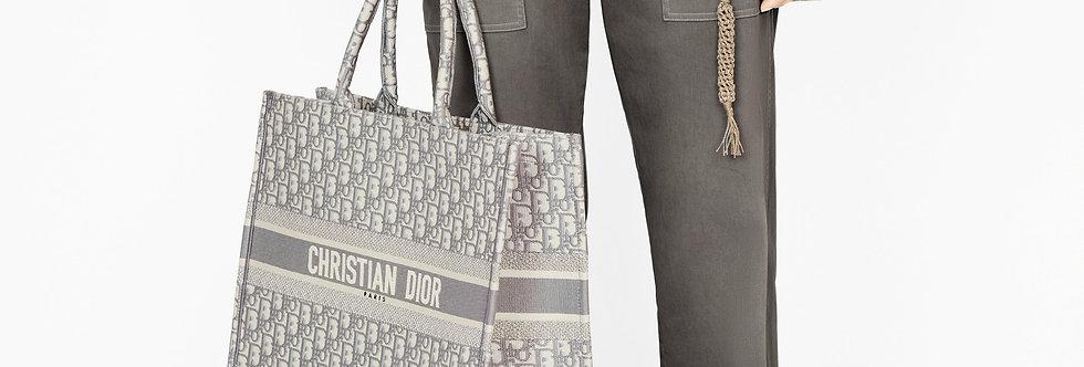 Dior Book Tote Gray/Navy Blue Dior Oblique Embroidery