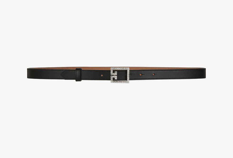 Givenchy Strass Double G Buckle thin belt in leather