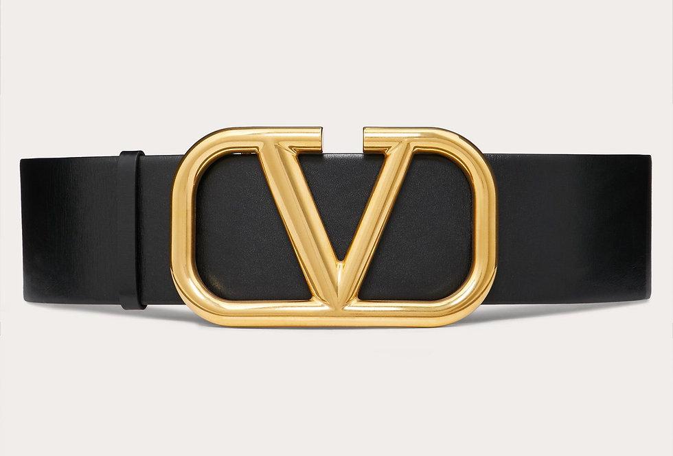 Valentino Reversible VLogo 7 cm belt in glosy calfskin