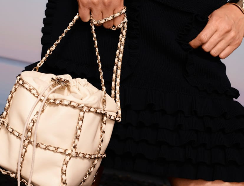Chanel Drawstrng Bag in Lambskin & Gold Metal