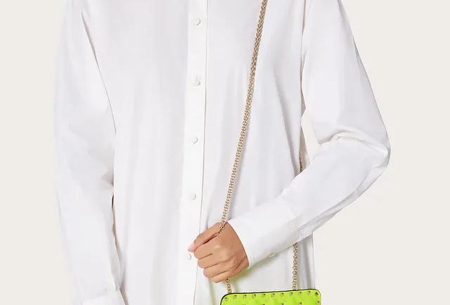 Valentino Mini Rockstud Spike Fluo Calfskin Leather Bag