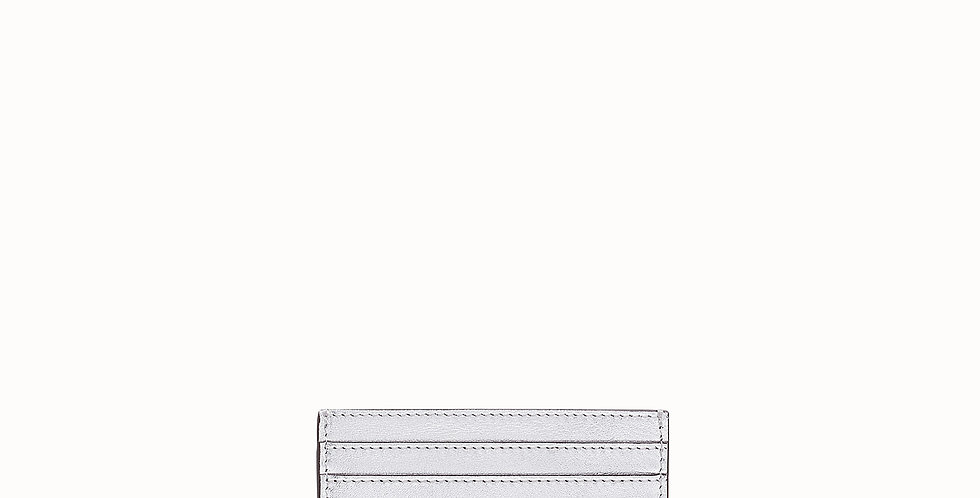 Fendi Silver leather flat card holder