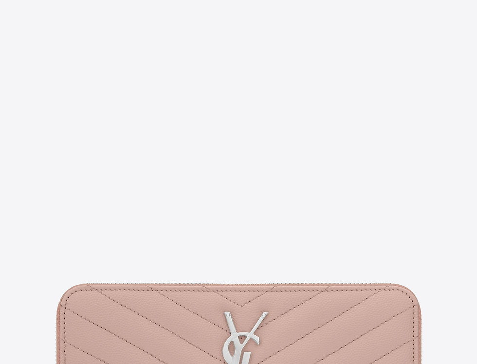 Saint Laurent Monogram large zip-around wallet in grain de poudre leather