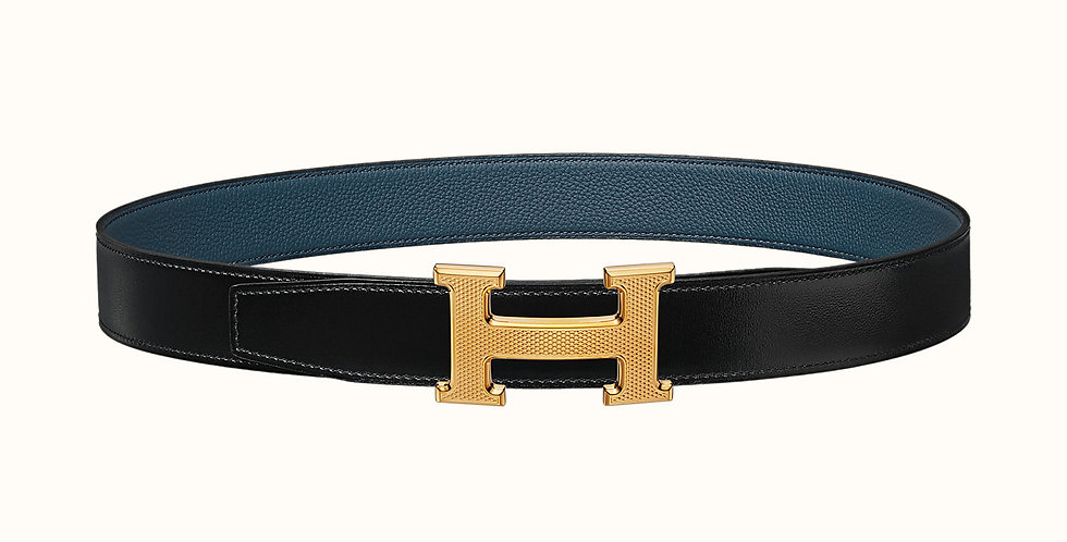 Hermès H Strie belt buckle & Reversible leather strap 32 mm