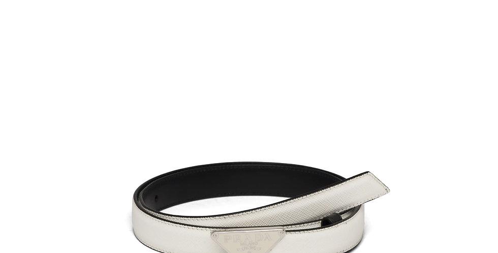 Prada Saffiano leather belt with triangular buckle