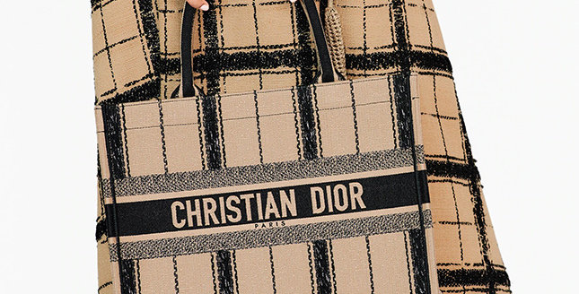 Dior Book Tote Black and Beige Bayadère Embroidery