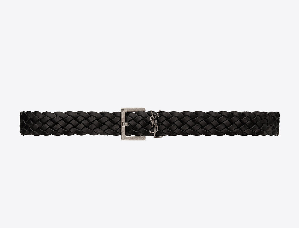 Saint Laurent Monogram belt with square buckle in braided leather