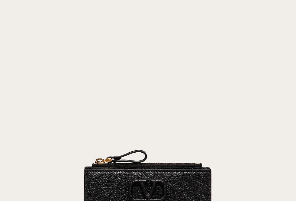 Valentino VSling Grainy Calfskin Cardholder with zipper