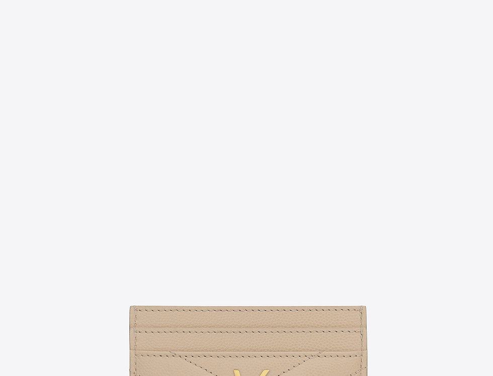 Saint Laurent Monogram card case in grain de poudre embossed leather
