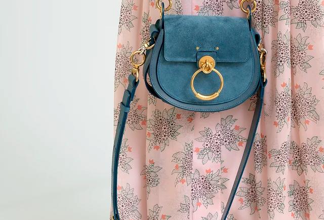Chloé Tess small bag in suede & shiny calfskin