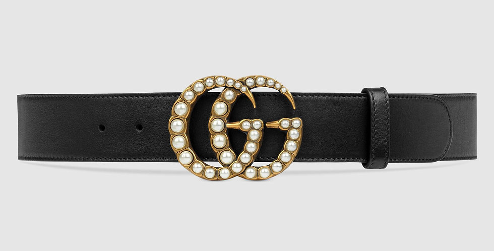 Gucci 3.8 cm leather belt with pearl Double G