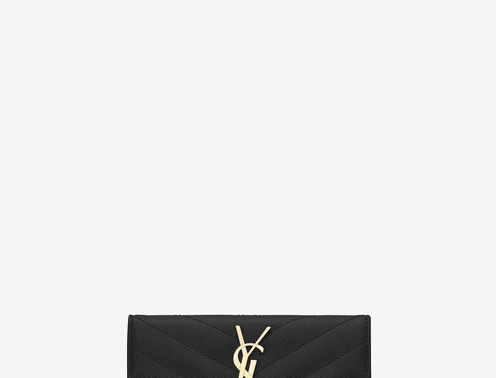 Saint Laurent Monogram small Enveloe wallet in grain de poudre embossed leather