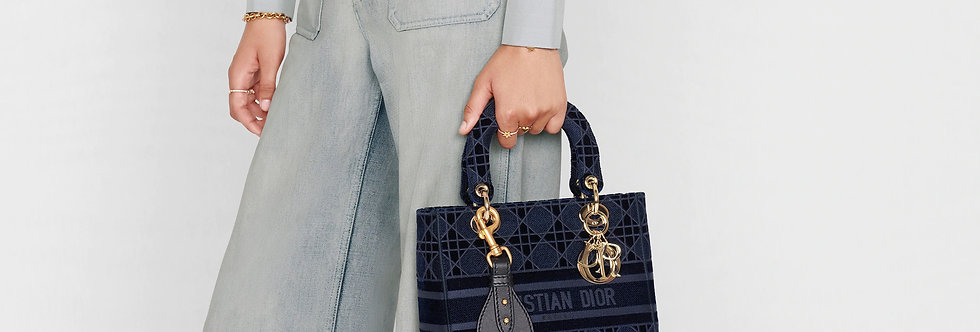 Dior Lady D-Lite Medium Bag Cannage Embroidered Velvet