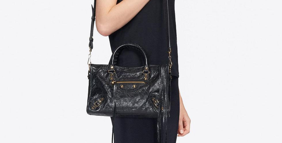 Balenciaga Classic City Small Shoulder Bag in black Arena lambskin