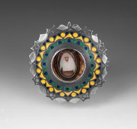 Cloistered 2010 sterling silver, copper, gold foil, enamel, bridal wreath flowers