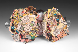 """""""A Bump Fell On Curtis!"""" 2010 sterling silver, copper, enamel, old comic books, toy bicycle"""