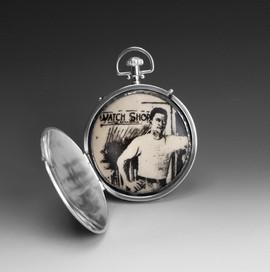 Until We Meet Again 2009 sterling silver, enamel, watch crystal and parts, soil