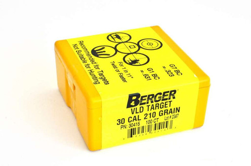 308 Win 210 gr VLD Target Projectiles (Berger) - Box of 100