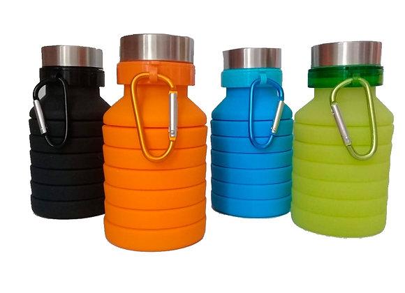 Botella Vaso de Silicón Para Agua, Plegable 550ml