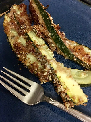 Zucchini with breading and Parmesan