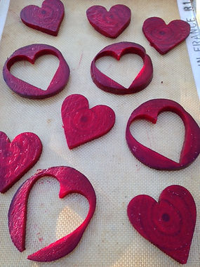 Cut out beets in heart shapes for Valentine's Day.