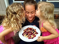 Happy Mother's Day! Rylan and Avery kiss mom Jenn as they help make a waffle breakfast.