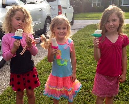 Lisa's girls eating popsicles