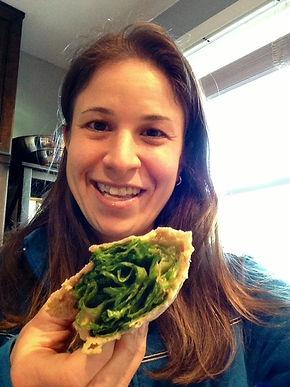 Chef Lisa Rovick eats no tahini humus in a wrap.