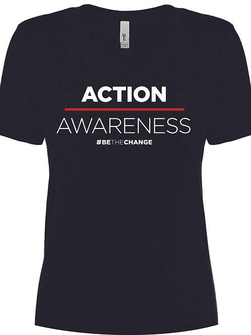 Action over Awareness Women's V Neck  T