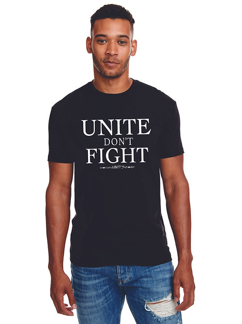UNITE DON'T FIGHT Fitted Black Tee with White Print - Blended Cotton