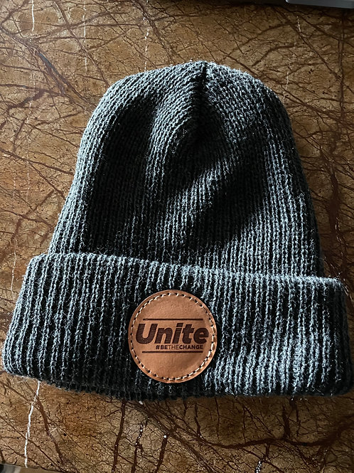 High Quality Winter Beanie with Leather Unite patch